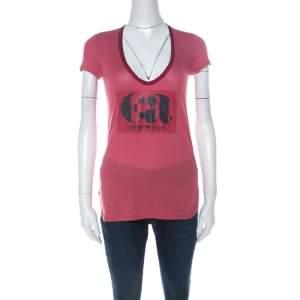 Emporio Armani Berry Pink Logo Print Jersey T-Shirt S