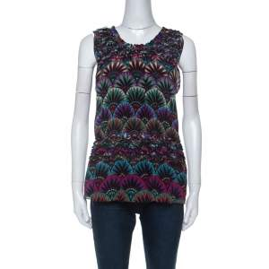 Emporio Armani Multicolor Floral Print Silk Elasticized Ruffle Detail Sleeveless Top S