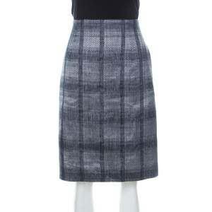 Emporio Armani Navy Blue and Grey Checkered Jacquard Pencil Skirt L