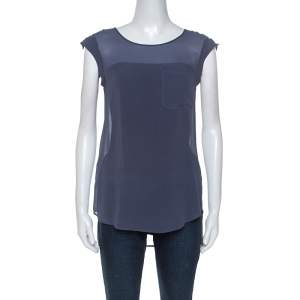 Emporio Armani Sage Blue Silk Cap Sleeve Sheer Top S