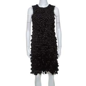 Emporio Armani Black Silk Blend Applique Detail Sleeveless Dress S