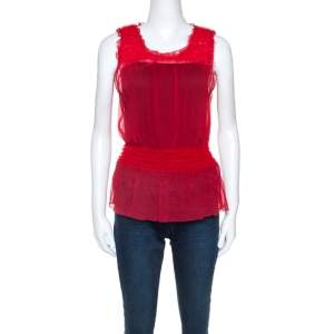 Emporio Armani Red Chiffon Elasticized Ruffle Sheer Sleeveless Top S