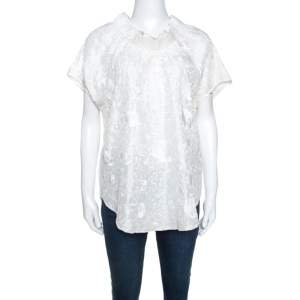 Emporio Armani Ivory Silk Floral Embroidered Top L