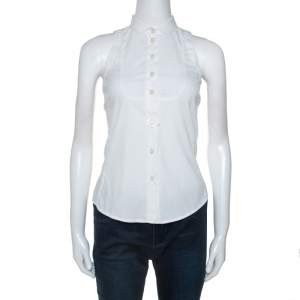 Emporio Armani White Cotton Blend Sleevless Button Front Top S
