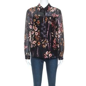 Emporio Armani Black Floral Print Sheer Cotton and Silk Button Front Shirt M