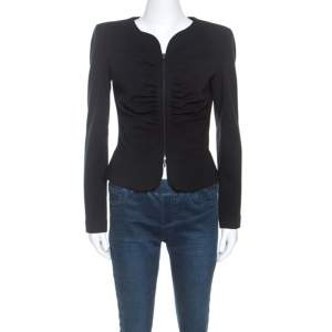 Emporio Armani Black Stretch Knit Ruched Detail Zip Front Jacket M