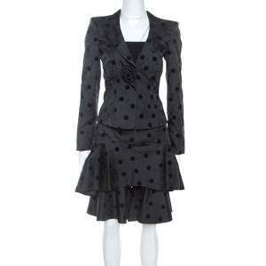 Emporio Armani Black Floral Jacquard Velvet Polka Dot Jacket Skirt Set S