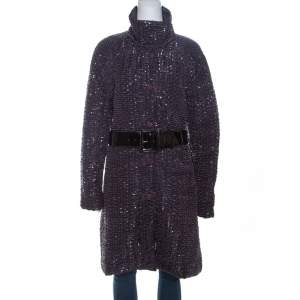 Emporio Armani Metallic Purple Textured Belted Coat M
