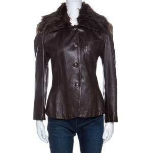 Emporio Armani Brown Leather Fur Collared Vintage Jacket M