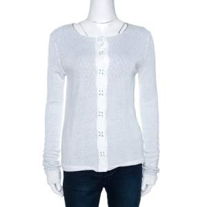 Emporio Armani White Knit Button Front Cardigan S