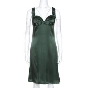 Emporio Armani Green Silk Satin Ruffle Detail Dress S