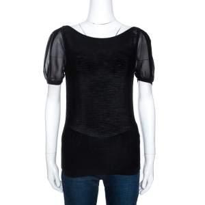 Emporio Armani Black Rib Knit Short Sleeve Top M