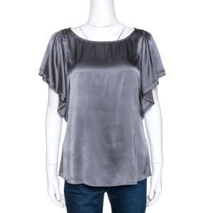 Emporio Armani Grey Silk Satin Layered Sleeve Top M