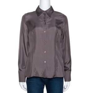Emporio Armani Taupe Silk Collar Detail Shirt S