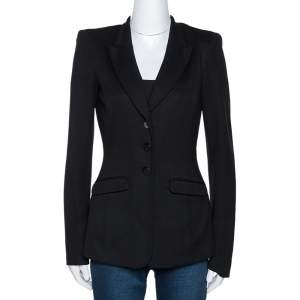 Emporio Armani Black Stretch Knit Three Button Blazer S