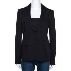 Emporio Armani Black Crepe Two Buttoned Tailored Blazer M