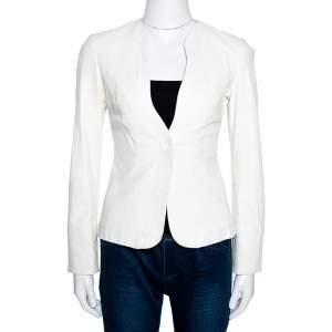 Emporio Armani Cream Leather Single Button Blazer S