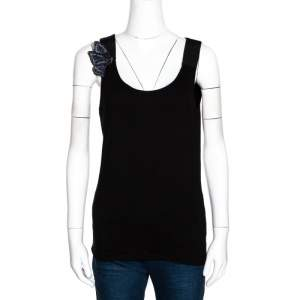 Emporio Armani Black Jersey Beaded Butterfly Applique Top M
