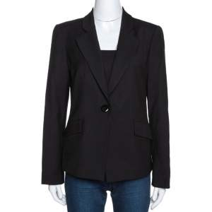 Emporio Armani Black Wool Single Buttoned Jacket M