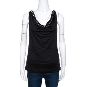 Emporio Armani Black Silk Bead Embellished Sleeveless Top S
