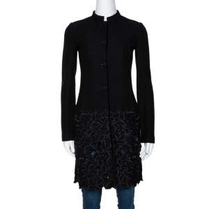 Emporio Armani Black Wool Cutout Detail Mid Length Coat S
