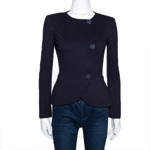 Emporio Armani Navy Blue Cotton Knit Peplum Jacket S