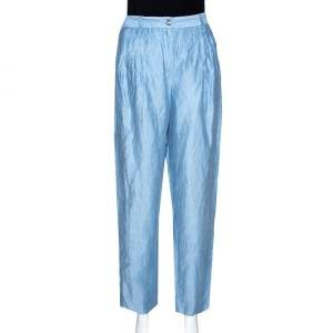 Emporio Armani Light Blue Linen High Waist Pants S