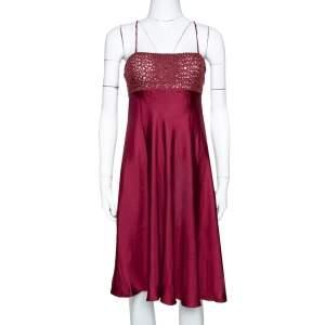 Emporio Armani Burgundy Silk Mesh Detail Sleeveless Dress S