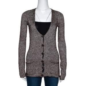 Emporio Armani Brown Mohair Blend Marl Knit Cardigan L