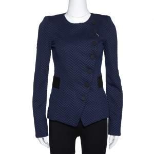Emporio Armani Navy Blue Zig Zag Pattern Asymmetrical Jacket S