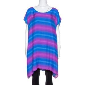 Emporio Armani Blue & Pink Gradient Print Silk Tunic L
