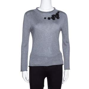 Emporio Armani Grey Cashmere Blend Floral Applique Long Sleeve Top S