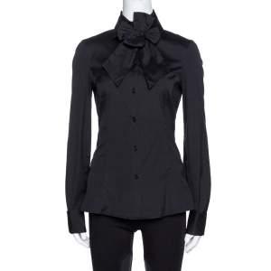 Emporio Armani Black Stretch Cotton Bow Detail Shirt M