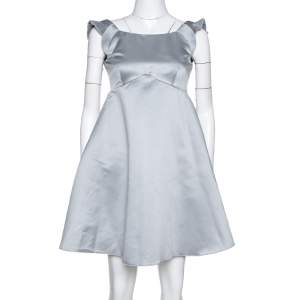 Emporio Armani Grey Satin Pleated Sleeve Mini Dress S
