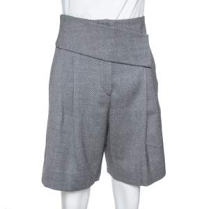 Emporio Armani Grey Wool & Cashmere Pleated Shorts S