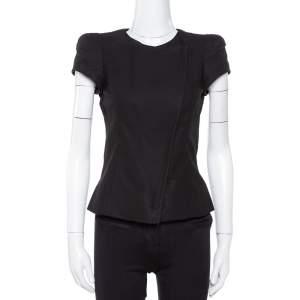 Emporio Armani Black Linen Power Shoulder Jacket M