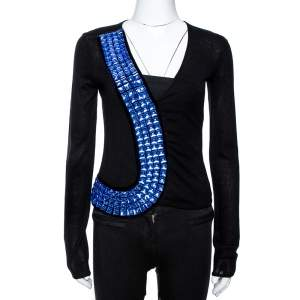 Emporio Armani Black Silk & Cashmere Knit Embellished Top S