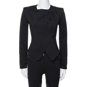 Emporio Armani Black Knit Double Breasted Bodysuit Jacket S