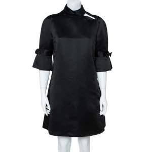 Emporio Armani Black Silk Blend Mock Neck Bow Sleeve Detail Midi Dress L