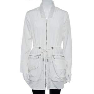 Emporio Armani White Ruffled Zip Up Jacket M