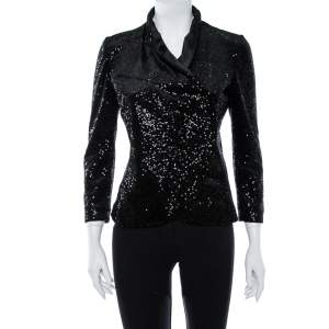 Emporio Armani Black Sequin Embellished Velvet Double Breasted Jacket M
