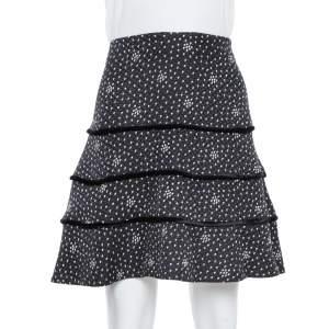Emporio Armani Black Textured Silk Tiered Short Skirt M