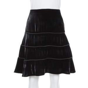 Emporio Armani Black Velvet Tiered Short Skirt M