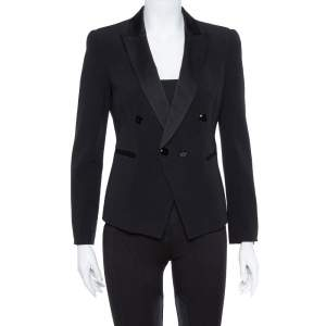 Emporio Armani Black Crepe Double Breasted Jacket S