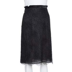 Emporio Armani Black Pleated Waist Detail & Floral Lace Short Skirt M
