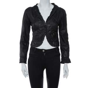 Emporio Armani Black Leather Ruffled Crop Jacket M
