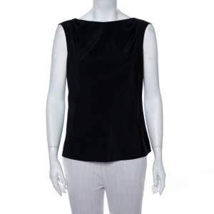 Emporio Armani Black Stretch Silk Sleeveless Top M