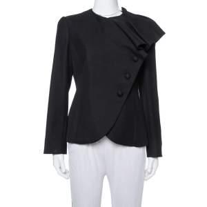 Emporio Armani Black Crepe Asymmetric Ruffle Collar Detail Jacket M