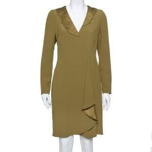 Emporio Armani Olive Green Crepe Asymmetric Ruffled Midi Dress M