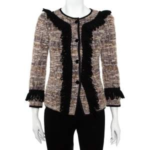 Emporio Armani Multicolor Tweed Button Front Jacket S